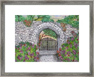 Private Garden At Sunset Framed Print