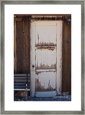 Framed Print featuring the photograph Private by Gunter Nezhoda