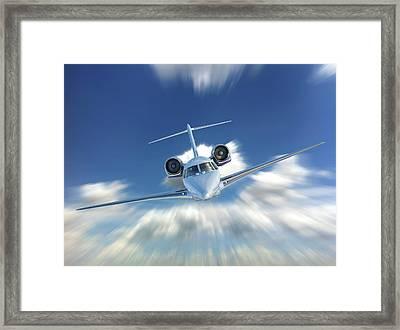 Private Jet In The Clouds Framed Print by Leonello Calvetti