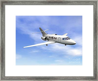 Private Jet Plane Flying In Cloudy Blue Framed Print by Elena Duvernay