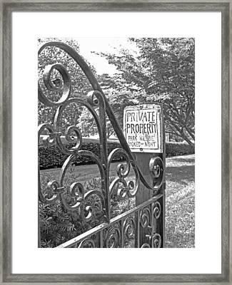 Private Property Black And White Framed Print by Barbara McDevitt