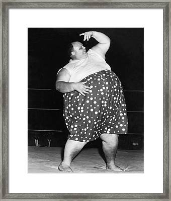 Pro Wrestler Happy Humphrey Framed Print by Underwood Archives