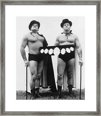 Pro Wrestlers Portrait Framed Print by Underwood Archives