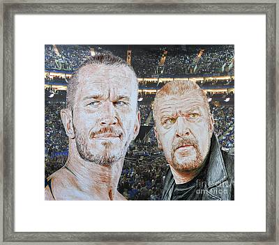 Pro Wrestling Superstars Randy Orton And Triple H Framed Print by Jim Fitzpatrick