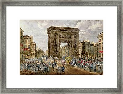 Procession Of Pope Pius Vii 1742-1823 In Paris, 28th November 1804 Coloured Engraving Framed Print by French School