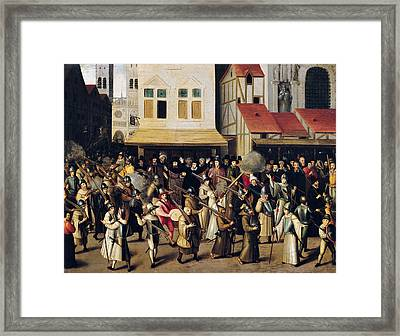 Procession Of The Holy League In 1590 Oil On Panel Framed Print