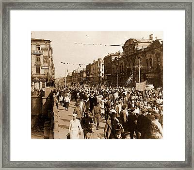 Procession On The Nevsky Prospect Saint Petersburg Russia Framed Print by Litz Collection