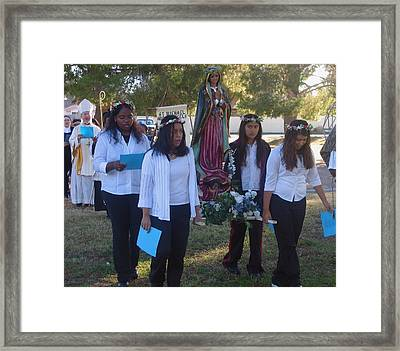 Procession With Statue Virgin Of Guadalupe St Michael And All Angels Liberal Catholic Church Casa Gr Framed Print by David Lee Guss