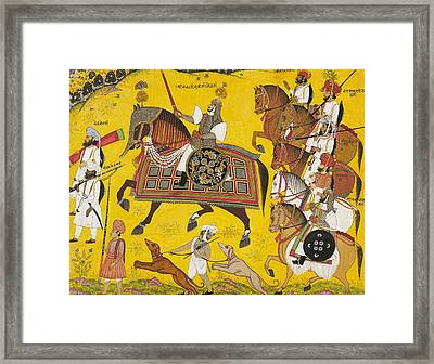 Processional Portrait Of Prince Bhawani Sing Of Sitamau Framed Print