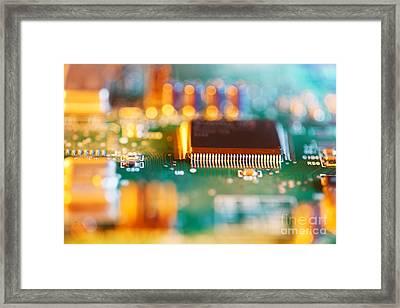 Processor Chip On Circuit Board Framed Print by Konstantin Sutyagin