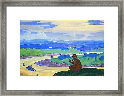 Procopius The Righteous Praying For The Unknown Travellers Framed Print by Nicholas Roerich