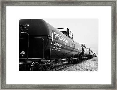 procor freight grain trucks on former canadian pacific railway now great sandhills railway Saskatche Framed Print
