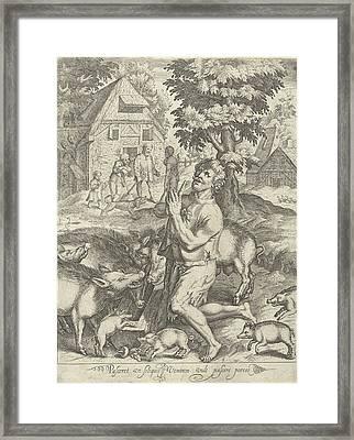 Prodigal Son As A Swineherd, Nicolaes De Bruyn Framed Print by Nicolaes De Bruyn