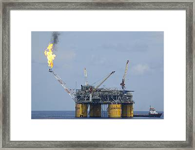 Framed Print featuring the photograph Production Platform With Flare by Bradford Martin
