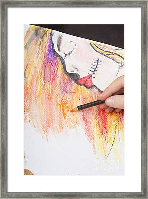 Professional Artist Illustrating Sugar Skull Girl Framed Print
