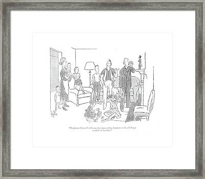 Professor Caswell Tells Me This Damn Thing Framed Print by George Price