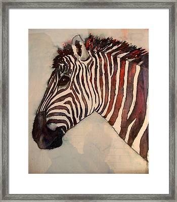 Profile In Stripes Framed Print by Karen McDonald