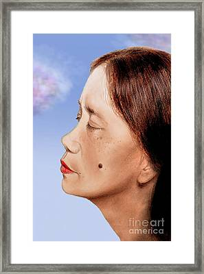 Profile Of A Filipina Beauty With A Mole On Her Cheek Altered Version Framed Print