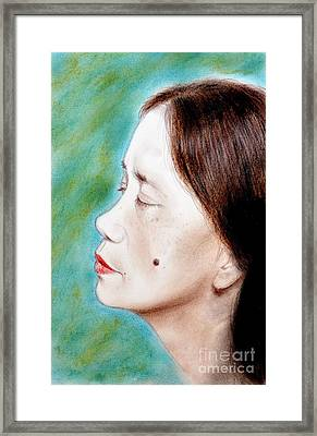 Profile Of A Filipina Beauty With A Mole On Her Cheek  Framed Print by Jim Fitzpatrick