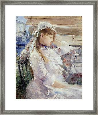 Profile Of A Seated Young Woman Framed Print