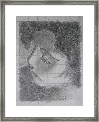Framed Print featuring the drawing Profile Of A Woman by AJ Brown
