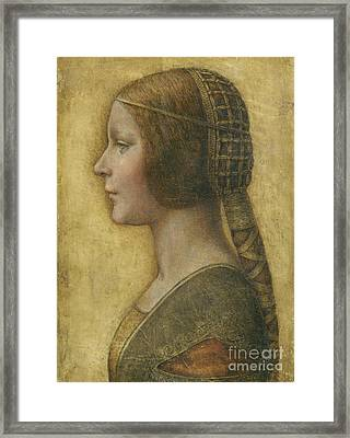 Profile Of A Young Fiancee Framed Print by Leonardo Da Vinci