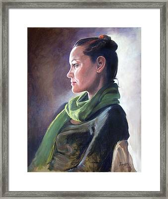 Profile Of Model With Crescent Light Framed Print by Kathryn Donatelli