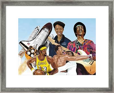Framed Print featuring the digital art Jimi, Muhammad Ali, Wilt Chamberlain And Mae Carol Jemison by Thomas J Herring