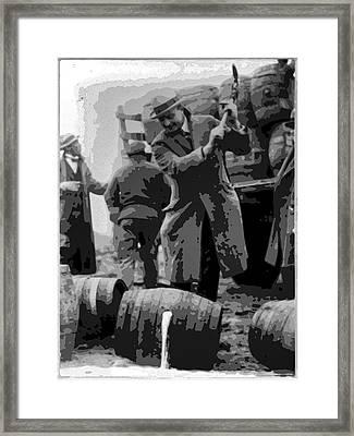 Federal Prohibition Agents Destroy Liquor 1923 Framed Print by Daniel Hagerman