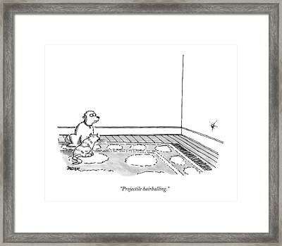 Projectile Hairballing Framed Print by Jack Ziegler