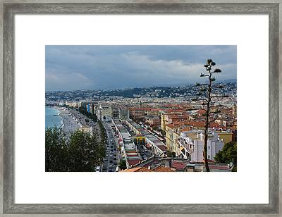 Promenade Des Anglais And Cours Saleya From Above - Nice France French Riviera Framed Print