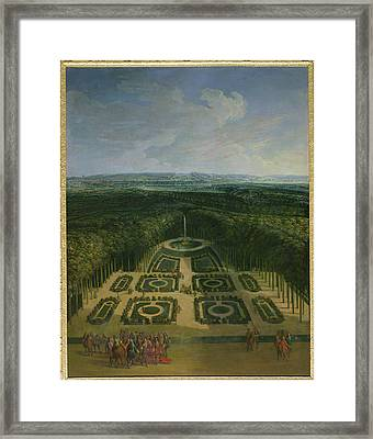 Promenade Of Louis Xiv 1638-1715 In The Gardens Of The Grand Trianon, 1713 Oil On Canvas Framed Print by Charles Chastelain