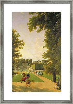 Promenade Of Napoleon I 1769-1821 And Marie-louise 1791-1847 In The Parc De Saint-cloud In 1810 Oil Framed Print by Jean Bidauld