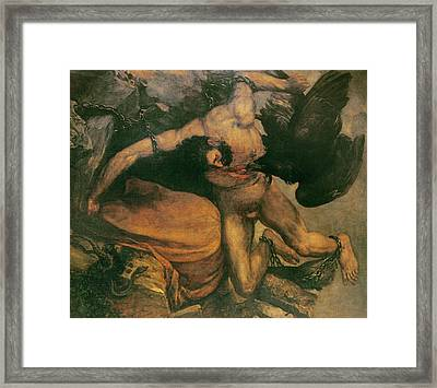 Prometheus Oil On Canvas Framed Print