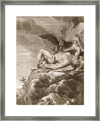 Prometheus Tortured By A Vulture, 1731 Framed Print by Bernard Picart