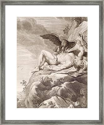 Prometheus Tortured By A Vulture Framed Print by Bernard Picart