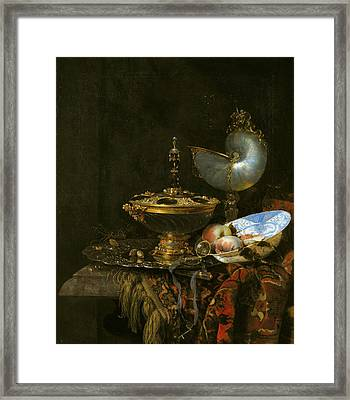 Pronk Still Life With Holbein Bowl Nautilus Cup Glass Goblet And Fruit Dish Framed Print by Willem Kalf