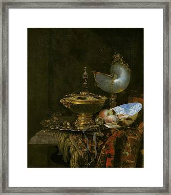 Pronk Still Life With Holbein Bowl Framed Print by Willem Kalf