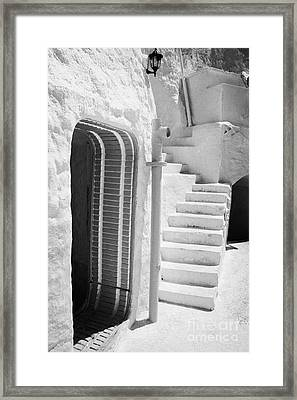 prop doorway and steps at the Sidi Driss Hotel underground at Matmata Tunisia scene of Star Wars films vertical Framed Print