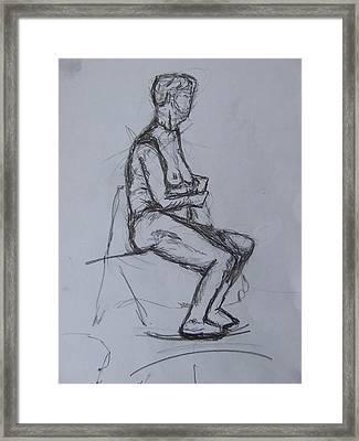 Proper-seated Framed Print