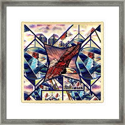 Prophetic Eagle Visions Storytelling In A Crazy Quilt Pattern Framed Print by Kimberlee Baxter