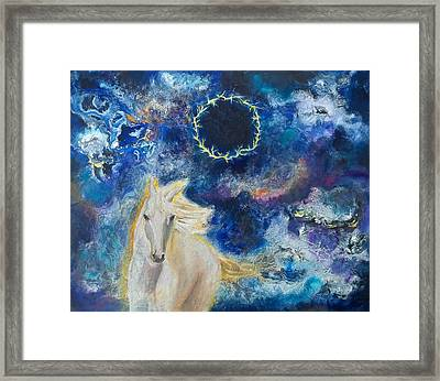 Prophetic Message Sketch Painting 6 Ring Of Lightning White Horse Framed Print