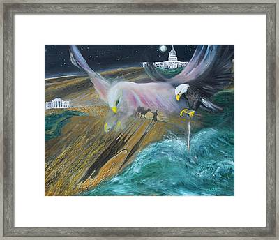 Prophetic Ms 36 Two Eagles Camel Through Eye Of Needle Parable Framed Print by Anne Cameron Cutri