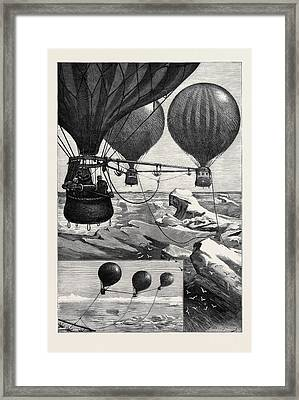Proposed Method Of Reaching The North Pole By Balloons Framed Print