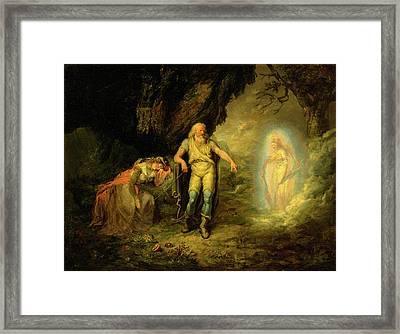 Prospero, Miranda And Ariel, From The Tempest Prospero Framed Print