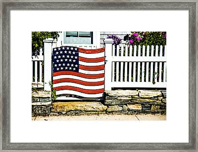 Protected By The Flag Framed Print by Karol Livote