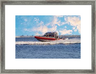 Protecting Our Waters - Coast Guard Framed Print by Kim Hojnacki