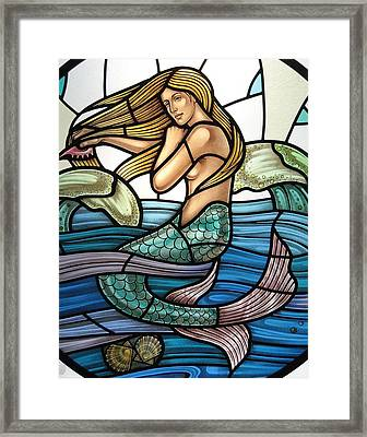 Protection Island Mermaid Framed Print by Gilroy Stained Glass