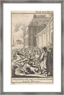 Protest Of The Population Against Cardinal Mazarin Framed Print by Caspar Luyken And Boudewijn Van Der Aa