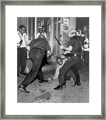 Protester Clubbed In Harlem Framed Print by Underwood Archives